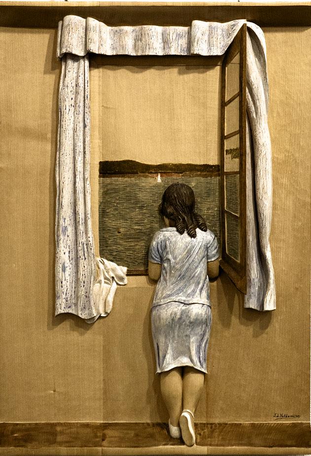 Muchacha en la ventana. Alumno Escuela de Talla en madera Gubiarte