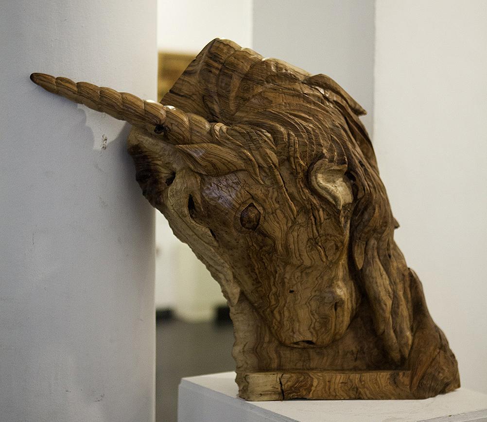 Unicornio. Alumno Escuela de Talla en madera Gubiarte