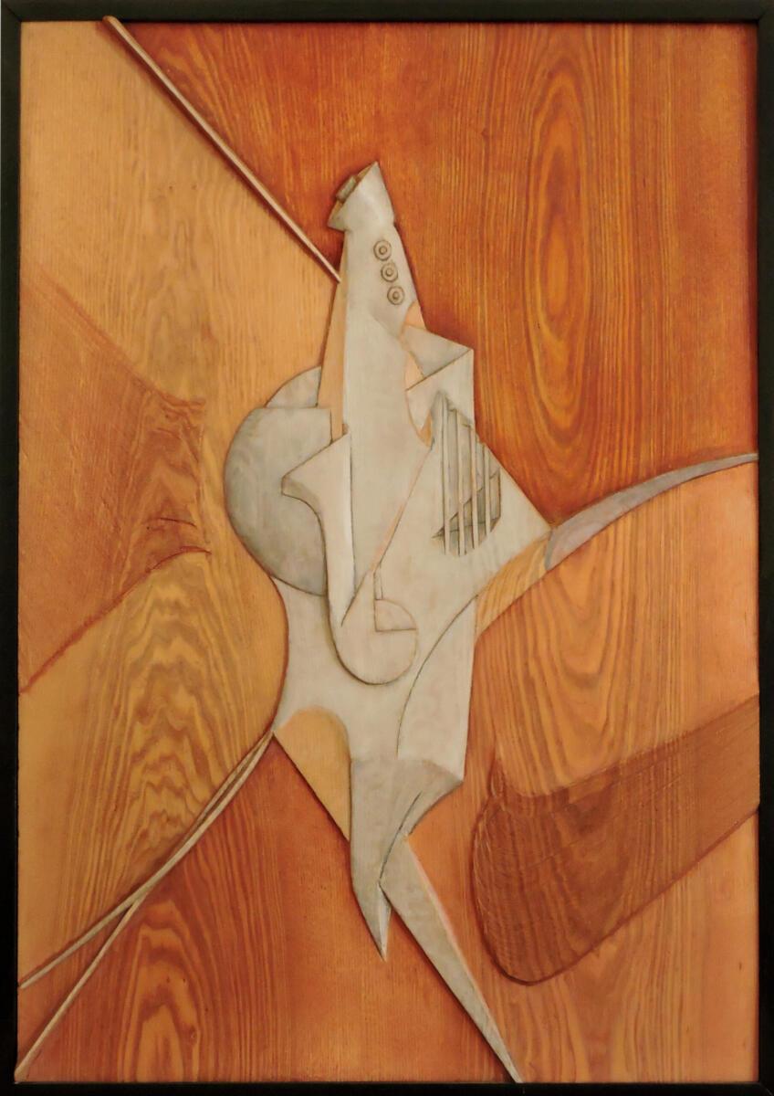 Instrumento imposible I. Madera policromada.57,5x77 cm. Talla en madera. Gubiarte