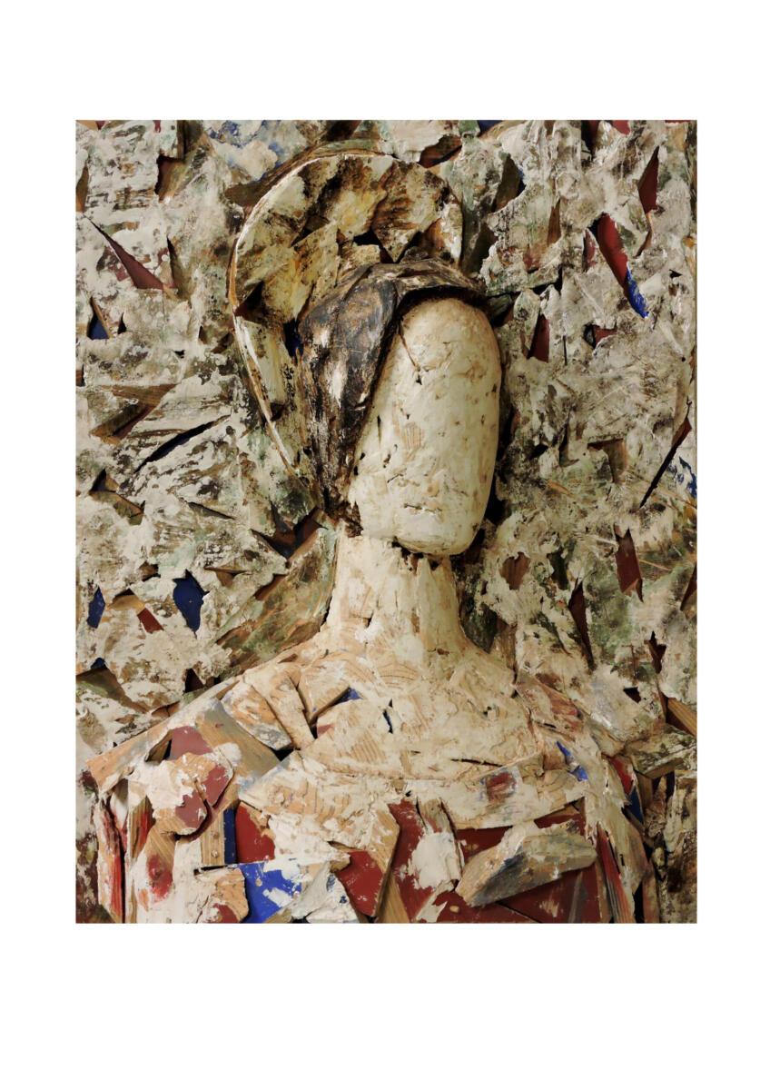 Valdés como pretexto. madera policromada. 103x122x32 cm. Talla en madera. Gubiarte